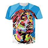 Chiclook Cool Unisex Hip Hop 3D Printed T Shirts 2PAC Tupac Casual Short Sleeve Top