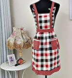 Apron Dress Mikey Store Restaurant Home Kitchen Waterproof Cooking Bib Flower Style 2 Pocket (Grid)