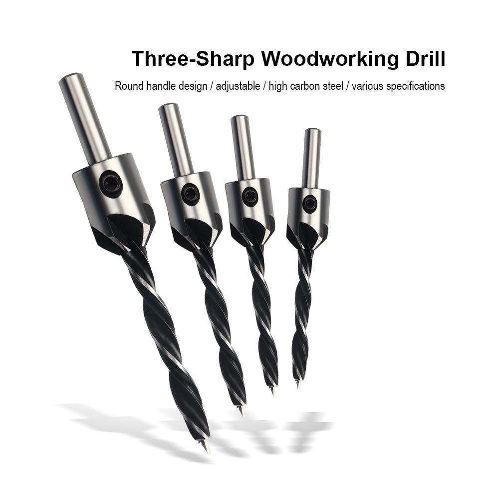 3//4//5//6mm 4Pcs HSS Woodworking Countersink Set Adjustable Carpentry Reamer Length Drill Bit for Wood Xilko Countersink Drill Bits Set Plywood Rubber PVC Fiberboard Plastic Particleboard