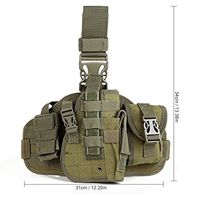 Pellor Tactical MOLLE Modular Drop Leg Thigh Rig Tactical Holster With Debris Pouch Mag Holder