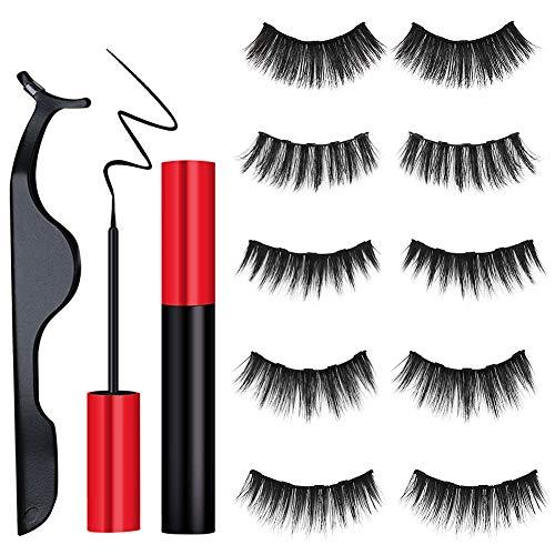 5Pairs Magnetic Eyeliner Kit, Angela&Alex Christmas Gifts 3D Magnetic Eyeliner with Magnetic Eyelashes No Glue Reusable Silk False Lashes with Applicator (Christmas Alex)