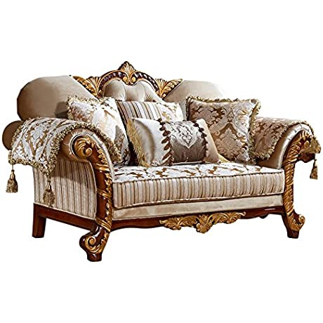 Meridian Furniture 651 L Camelia Solid Wood Upholstered Loveseat With Hand Carved Designs And Imported Fabrics Rich Cherry Finish With Gold Accents