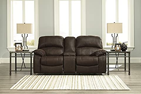 Zavier Contemporary Faux-Leather Truffle Color Glider Reclining Loveseat With Console - Over Dual Reclining Loveseat