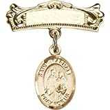 14kt Yellow Gold Baby Badge with St. Raphael the Archangel Charm and Arched Polished Badge Pin 7/8 X 3/4 inches