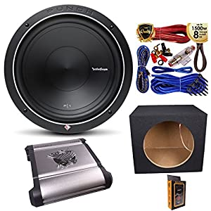 "(1) Rockford Fosgate P1S4-12 Prime SVC 4 Ohm 12"" 500W Subwoofer with 1250W Mono Amplifier w/Remote Subwoofer Level Control + Amp Kit & Single Sealed Box"
