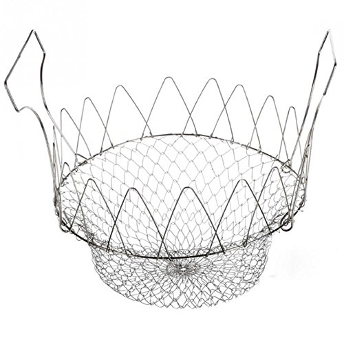 DHmart Stainless Steel Colander Mesh Basket Steam Rinse Strainer Filter Kitchen Sieve Fry French Chef Basket Cooking Tools ()