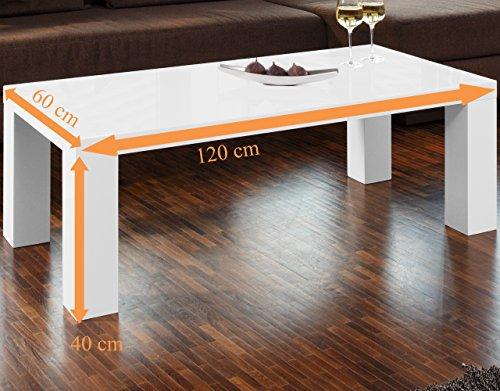 Couch Tisch Weiss Hochglanz Aus MDF 120x60cm Recht Eckig