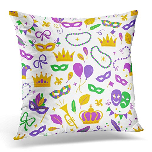 li long Throw Pillow Covers Mardi Gras with Balloon Carnival Mask Confetti Fleur De Lis Trumpet Crown Comedy and Tragedy Ribbon Decorative Pillow Case Home Decor Square 18W X 18L Pillowcase