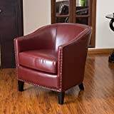 small leather club chair Christopher Knight Home 260816 Austin Oxblood Leather Club Chair, Red