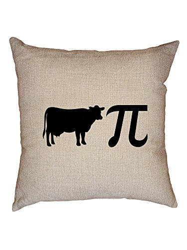 Hollywood Thread Cow Pie with Math Pi Symbol - Hilarious Graphic Decorative Linen Throw Cushion Pillow Case with Insert