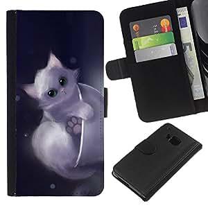 HTC One M7 , la tarjeta de Crédito Slots PU Funda de cuero Monedero caso cubierta de piel ( Cute Drawing Kitten Pet Sweet Furry)