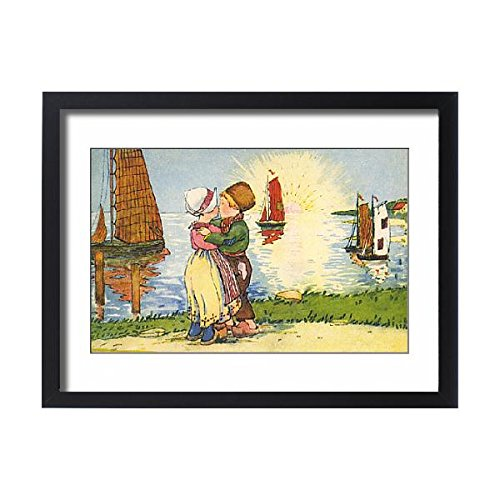 Framed 24x18 Print of Young Dutch boy and girl share a kiss at sunset (Dutch Boy And Girl Costumes)