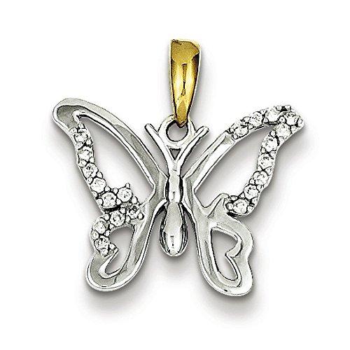 Argent 925/1000-Vermeil-Pendentif Papillon diamants bruts JewelryWeb