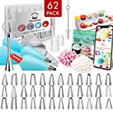 Kitchwise Cake Decorating Supplies Kit Tips 62 Pieces, 36 Stainless Steel Icing Tip Set, 2 Reusable Coupler and 20 Pastry Bags