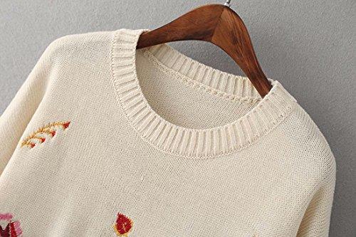 Manicotto Magliette Modo Lunghe Fiore Qiyun Bianca Di Dei z Delle Donne Maglioni Del Ricamo Autunno wqZ5I4C