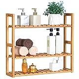 SONGMICS bamboo bathroom shelves, 3-Tier Adjustable Layer Rack, Bathroom Towel Shelf, Utility Storage Shelf Rack, Wall Mounted Organizer shelf, For Bathroom Kitchen Living Room Holder Natural UBCB13Y