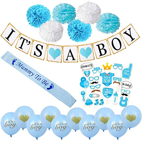 blue Baby Shower Decorations For Boy With It's A Boy Banner,Paper Tissue Pom Poms flower, mummy to be sash, primum quality baloons. baby shower boy decor.