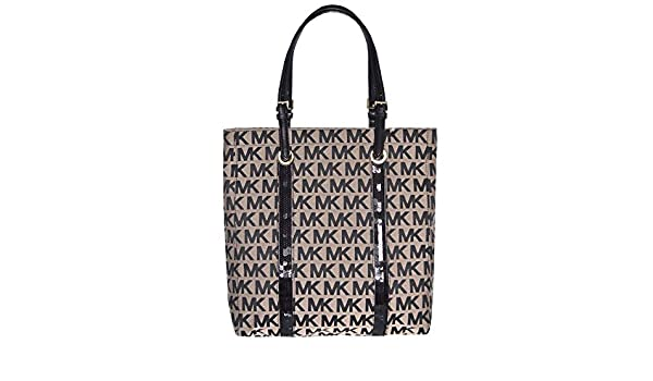 Amazon.com: Michael Kors MK Signature Sequin Stripes NS Tote Shoulder Bag, Black: Shoes
