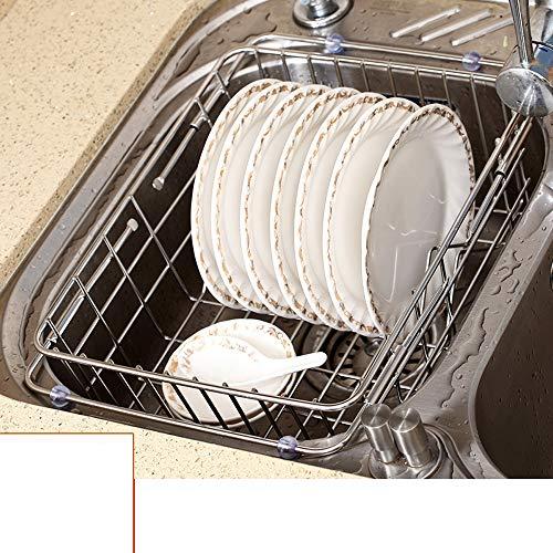 PM-Armarios MXGCHU Cocina De Rejilla De Desagüe, Canasta De Drenaje Acero Inoxidable 304 - Rejilla De Plato De Fregadero...