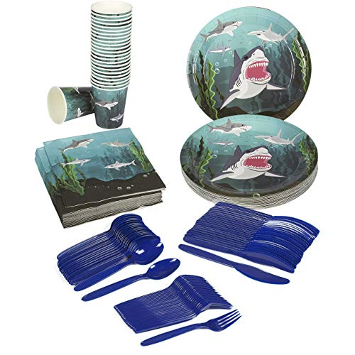 Juvale Shark Party Supplies – Serves 24 – Includes Plates, Knives, Spoons, Forks, Cups and Napkins. Perfect Shark Birthday Party Pack for Kids Ocean, Nautical and Shark Themed Parties -