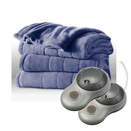 Channeled Microplush Electric Heated Blanket Color Lagoon twin