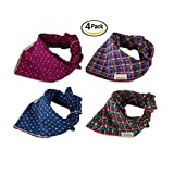 Combofix 4 Pack Cute Dog Bandana Head Scarf Accessories Neckerchief for Pet Cats and Puppies