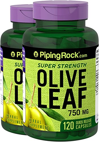 Olive Leaf Extract 120 Caps (Piping Rock Super Strength Olive Leaf Extract 750 mg 2 Bottles x 120 Capsules Herbal Supplement)