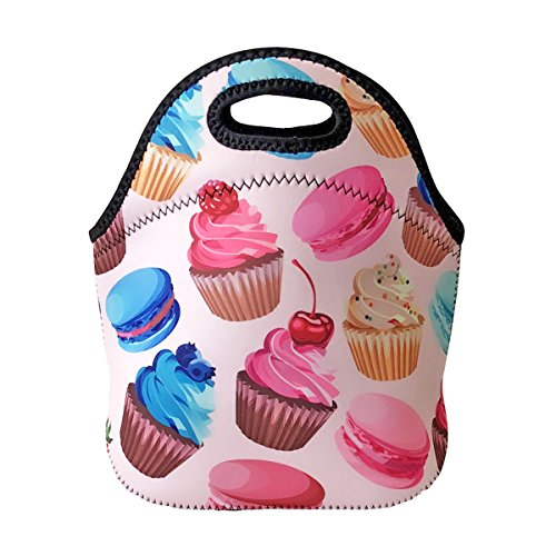 ALLYDREW Insulated Neoprene Lunch Bag Zipper Lunch Box Tote, Cupcakes