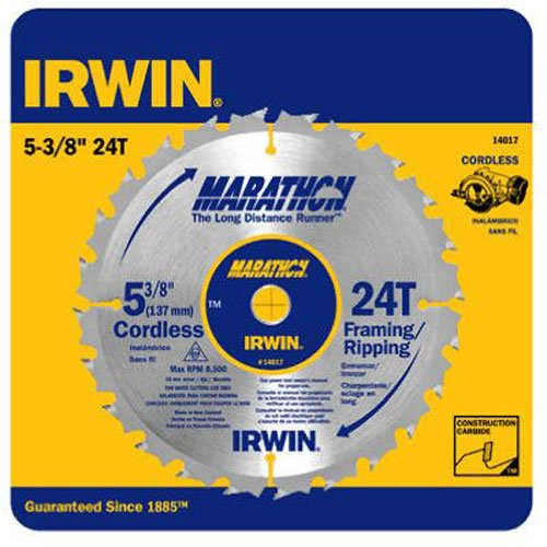 IRWIN Tools MARATHON Carbide Cordless Circular Saw Blade, 5 3/8-Inch, 24T, .063-inch Kerf - Carded Magnifier