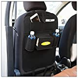 Car Organizer,Axiba Car Back Seat Organizer Multi-Pocket Travel Storage Bag Kick Mat Protector (Black)