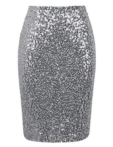 (PrettyGuide Women's Sequin Skirt High Waist Sparkle Pencil Skirt Party Cocktail XL Silver)