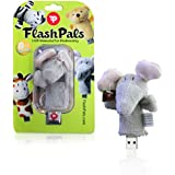 Cute, Plush Flash Drive Keychain by FlashPals | Lovable Elephant Design + Light-Up Heart + 8GB USB Pen Drive | Useful Gift for Kids and Animal Lovers (Gray)