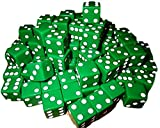 Custom & Unique {Standard Medium 16mm} 50 Ct Bulk Pack Set of 6 Sided [D6] Square Cube Shape Playing & Game Dice Made of Plastic w/ Classic Board Game Design [Green & White colored]