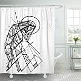 Emvency Shower Curtain Waterproof Polyester Fabric 66 x 72 inches Beard Ink Drawing Jesus Christ at His Passion Body Catholic Christian Divine God Set Hooks Decorative Bathroom