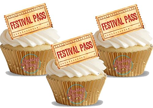 12 x Festival Pass Tickets Fun Novelty Birthday Party PREMIUM STAND UP Edible Wafer Card Cake Toppers Decorations (Unflavoured)