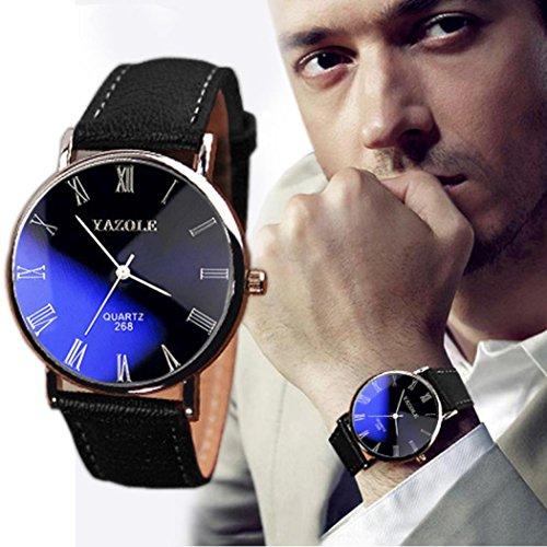 Clearance Black Wristwatch Daoroka Luxury Fashion Mens Faux Leather Business Quartz Analog Watch Jewelry Father's Day Gift (Black) from Daoroka Watch