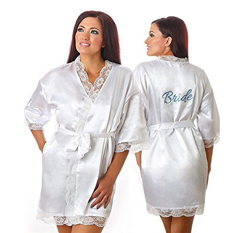 Womens Kimono Bridal White Robe with Lace trimmings and Bride print on Back (Medium, White)