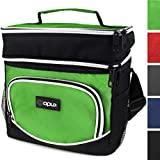 OPUX Premium Thermal Insulated Dual Compartment Lunch Bag for Men, Women | Double Deck Reusable Lunch Tote with Shoulder Strap, Soft Leakproof Liner | Medium Lunch Box for Work, Office (Green)