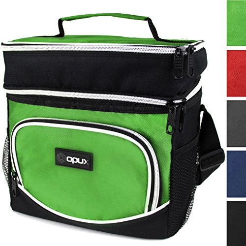 OPUX Premium Thermal Insulated Dual Compartment Lunch Bag for Men, Women   Double Deck Reusable Lunch Tote with Shoulder Strap, Soft Leakproof Liner   Medium Lunch Box for Work, Office (Green)