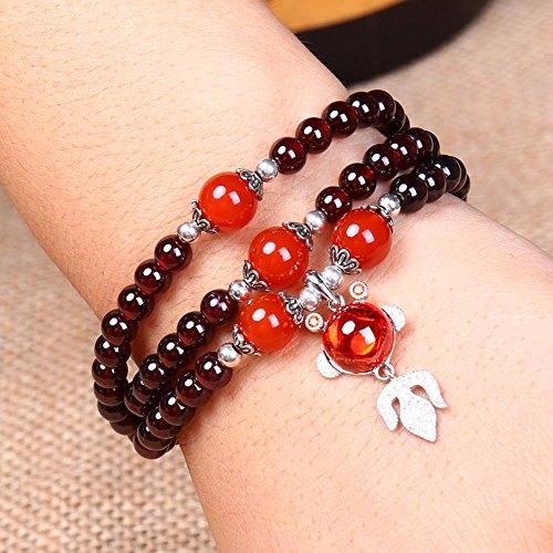 - Daeou Women's Bracelets Garnet Multilayer bracelet S925 Sterling silver pendant Multi-circle hand Ornament