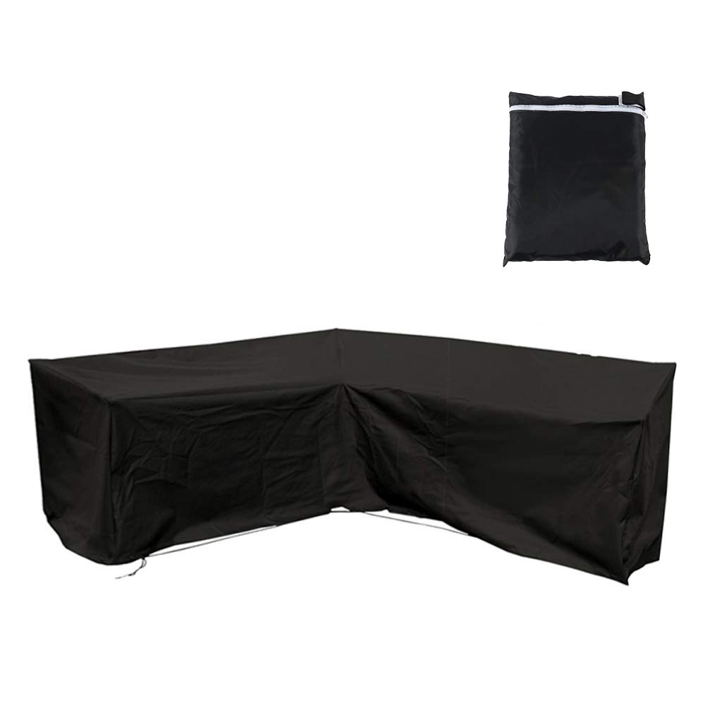 Interlink Patio Sectional Cover V-Shaped Waterproof Outdoor Veranda Furniture Sofa Cover Garden Couch Protector Black (85'' Lx85 Lx34 H) by Interlink