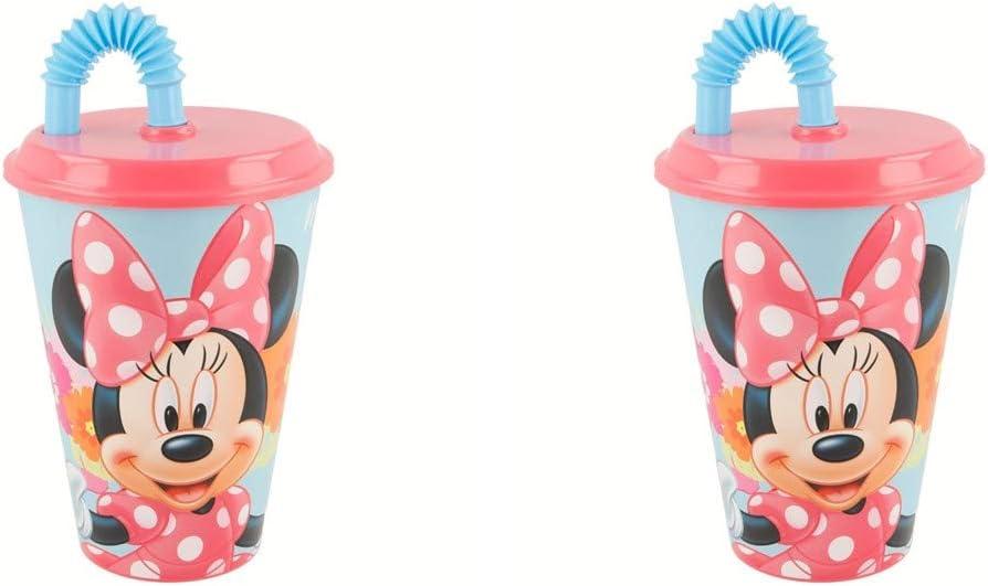ALMACENESADAN 2520; Pack 2 Verres avec Canne Easy Disney Minnie Mouse Bloom capacit/é 430 ML; Produit en Plastique; Pas DE BPA