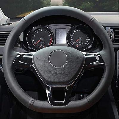 ZYTB Para DIY Black Car Steering Wheel Cover para Volkswagen VW ...