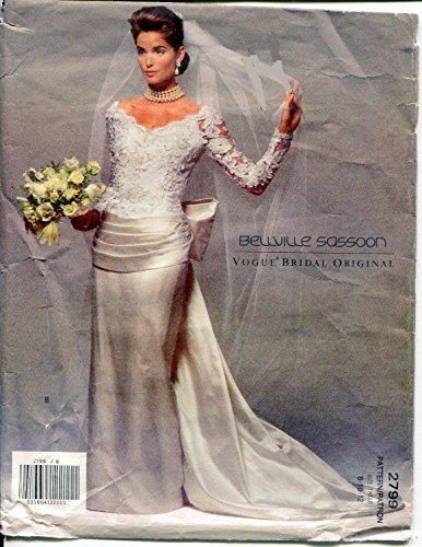 Vogue 2779 Belleville Sassoon Bridal Original Wedding Dress Sewing Pattern OOP Copyright 1992 Size 8 10 12 (Dresses Vogue Bridal)