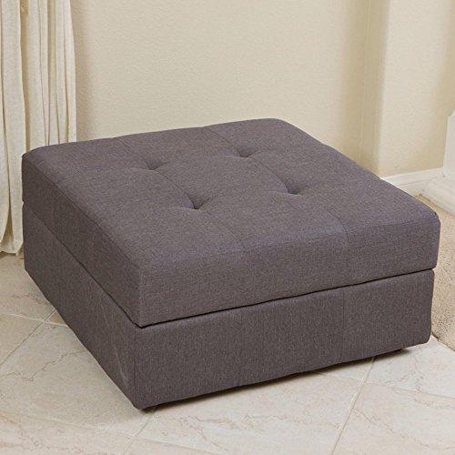 Best Selling Cedar Fabric Storage Ottoman, Brown/Grey