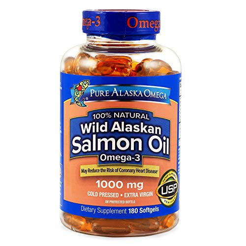 Pure Alaska Omega-3 Wild Alaskan Salmon Oil 1000mg Softgels 1 Pack (180-Count )
