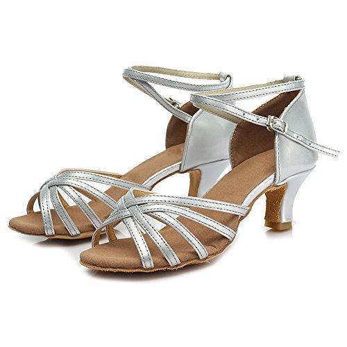 de Zapatos danza satén 5cm Modelo ES213 baile Plateado de HIPPOSEUS Zapatos salón mujeres la baile Zapatos de de de latinos el BqB5A