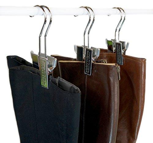 The Original Boot Hanger - Shoe Storage Space Saver (set of 3); Boot Hanger, Boot Holder, Boot Clips (Silver)