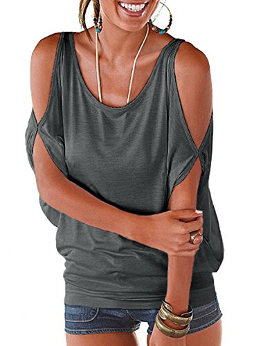 Grey Summer T Shirt Women Short Sleeve Cold Shoulder Loose Fit Pullover Casual Top]()