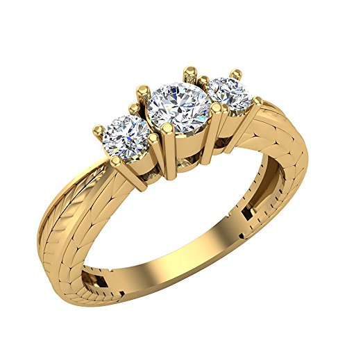 3/8 ctw Past Present Future Engraved Three Stone Anniversary Ring Diamond Engagement Ring 14K Yellow Gold (Ring Size 5) (Ring Three Diamond Stone)